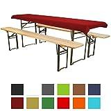 Tischdecke für Bierzeltgarnitur - 70x240 cm (für Tischbreite 50 cm) dunkelrot