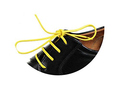 Loco!Laces- Gewachste, Bunte, farbige, runde Schnürsenkel für Business-Schuhe! 80cm Länge 3er Pack (3X Gelb) - Krawatten Krawatten