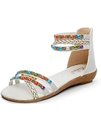 Ss15, Sandales pour Femme - Blanc - Blanc/Argenté, 38Ikkii