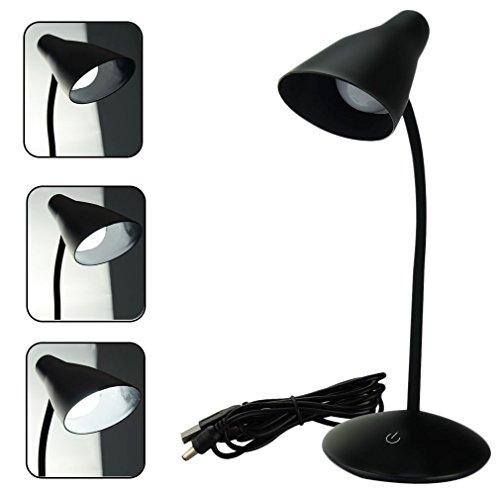 Eplze LED Bureau Lampe Cloche Style 3 Les Niveaux de Luminosité Toucher-capteur Flexible Cou en Train de Lire Lampe- Noir