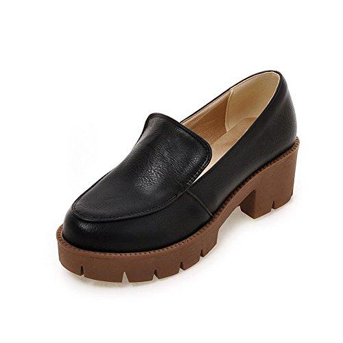 AgooLar Femme Tire Pu Cuir Rond à Talon Correct Couleur Unie Chaussures Légeres Noir