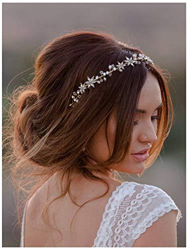 SWEETV Silber Hochzeit Blume Braut Haarschmuck Kristall Stirnbänder Haarband Diadem Tiara