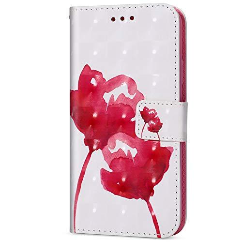 Herbests Kompatibel mit Huawei P Smart Leder Handyhülle Ledertasche, 3D Bunt Glitzer GlänzendeLeder Hülle mit Kartenfach Standfunktion Handy Schutzhülle Klapphülle,Pink Rose Blumen