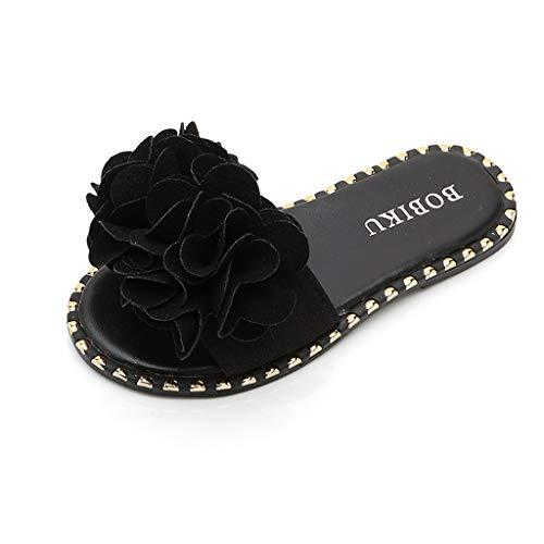 Squarex, scarpe per bambini da 4 a 12 anni, scarpe estive da bambina, colore caramello, pantofole piatte casual, graziose e antiscivolo, sandali da principessa con cristalli 8-9Years Nero