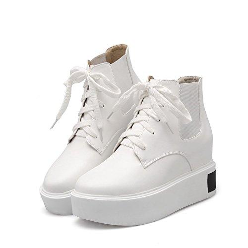 AalarDom Damen Hoher Absatz Weiches Material Niedrig-Spitze Rein Schnüren Stiefel Weiß