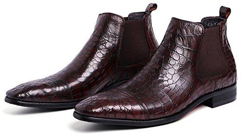 HENGJIA Herren Krokoprägung Chelsea Boots Schlupfstiefel Business Schuhe Knöchelhohe Stiefel Braun