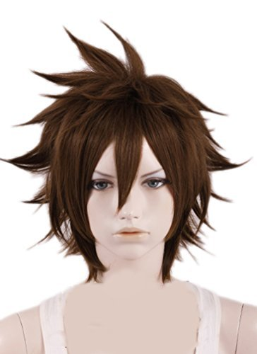 dom Hearts Cosplay Brown Short Wig Hair Cosplay Accessories Halloween Party by Tengs (Kingdom Hearts Sora Halloween Cosplay)