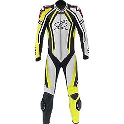 Mono de piel para moto hombres Spyke Blinker RAC traje de una pieza negro/blanco (58, blanco/negro/amarillo fluorescente)