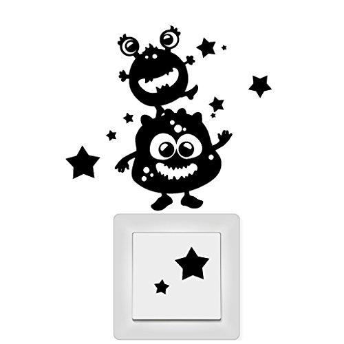 Wandtattoo Loft Lichtschaltersticker Monster Kinderzimmer Sterne / Aufkleber /Sticker / Wandaufkleber / Steckdosenaufkleber / 29 Farben / denkelblau /