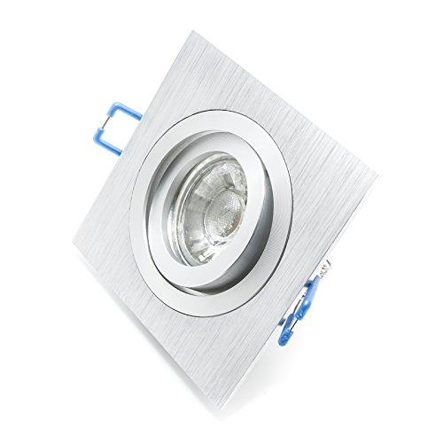 Foco orientable LED 5W doble abrazadera integrado Silver 30grados GU10orificio 8cm R–Luz Blanco Cálido