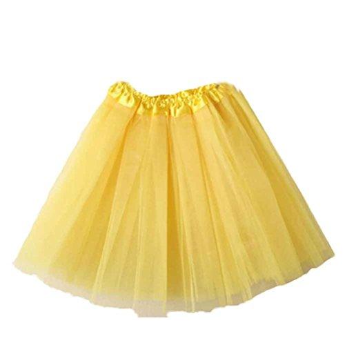Damen Puffrock SHOBDW Damen Tütü Rock Minirock Organza Pettiskirt 3 Layers Petticoat Tanzkleid dehnbaren informell Mini Skater Rock Ballettrock mit Sternchen Perfekt für Fasching (Gelb)