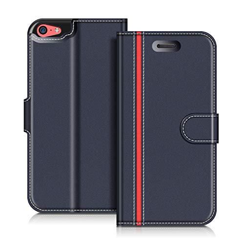 COODIO Handyhülle für iPhone 5C Handy Hülle, iPhone 5C Hülle Leder Handytasche für iPhone 5C Klapphülle Tasche, Dunkel Blau/Rot