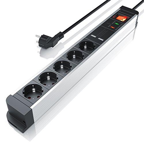 Arendo 5-Fach Steckdosenleiste mit USB-Ladervorrichtung und Überspannungsschutz | bis zu 3680W | 230V AC 50Hz | USB 5V (2000mA) | EIN-/Ausschalter (beleuchtet) | für Wandmontage geeignet - Steckdose Wand-adapter Mit Überspannungsschutz