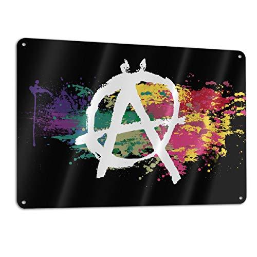 Anarchie-Symbol, Wasserfarben, Regenbogenfarben, personalisierbar, einseitig, Aluminium, 11,8 x 7,9 in 1 Packung, weiß, Einheitsgröße (Metall-anarchie-symbol)
