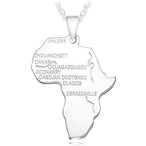 Grancey Afrika Karte Halskette Silber/Gold/Rose Gold/Schwarz für Männer Frauen Hip Hop Tag Anhänger Seil Kette Halskette Modeschmuck (Rose Seil-kette Männer Für Gold)