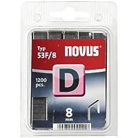 Novus Flachdrahtklammern 8 mm, 1200 Tacker-Klammern vom Typ 53 F/8, zur Befestigung von Folien, Etiketten, Papier, Pappe