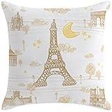 Eiffel Baby Francia - Funda cojín, 40 x 40 cm, color beige