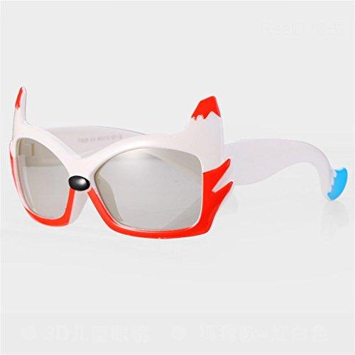 TP+ Sonnenbrillen - polarisiert, Kinder, kein Blitz, Stereo 3D, Imax, Film, 3D-TV Universal, 3-10 Jahre, Größe: 128x41mm $# (Farbe : Red-White Frame)