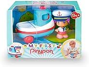 Pinypon - My First, Happy Vehículos Barco, Mis primeros transportes, barco de juguete con ruedas, flota en la