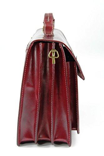 Belli sac à main design ® «b» étui attaché-case en cuir unisexe couleur au choix :  40 x 30 x 14 cm (l x h x p) Rosso (Bordeaux dunkel)