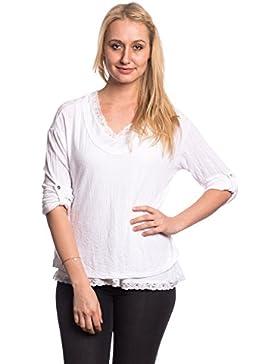 Abbino Camisas Blusas Tops para Mujeres - Hecho en ITALIA - 6 Colores - Entretiempo Primavera Verano Otoño Mujeres...
