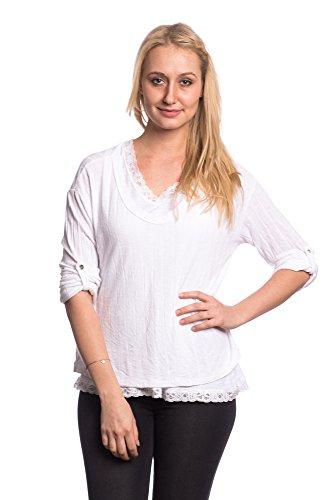 Abbino Chemisiers Blouses Tops Femmes Filles - Fabriqué en Italie - 6 Couleurs - Transition Printemps Été Automne Plaine Chemises Manches Longues Elegante Vintage Classique Casual Sexy Blanc