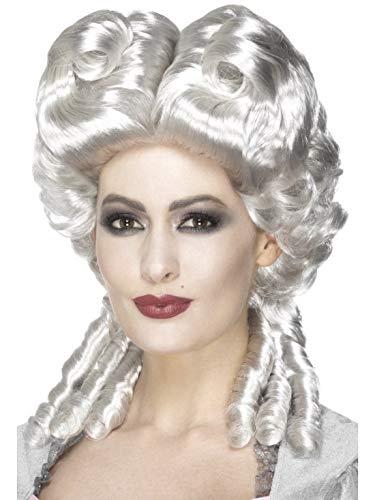 Halloweenia - Damen Marie Antoinette Deluxe Perücke im Barock Stil, Kostüm Accessoires Zubehör, perfekt für Halloween Karneval und Fasching, Weiß