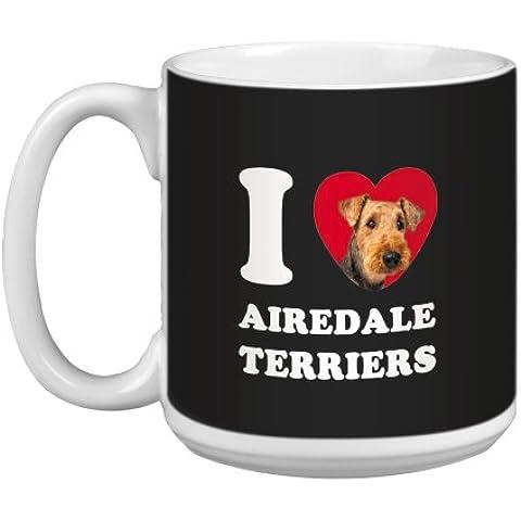 Árbol de-free Tarjeta de felicitación de 20 oz de conejos y corazones de Airedale caza papero taza grande