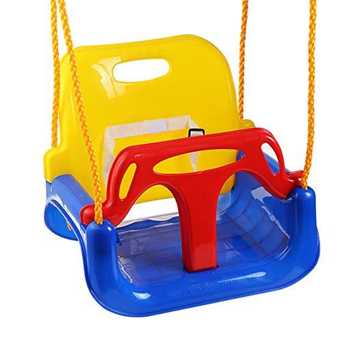 Ghh altalena colorata 3 in 1 seggiolino bambini in plastica,sedile removibile per altalena giocattolo da giardino per bambini blu