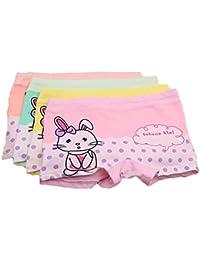 FAIRYRAIN 4 Packung Baby Kleinkind Mädchen Kaninchen Punkte Pantys Hipster Shorts Spitze Baumwollunterhosen Unterwäsche