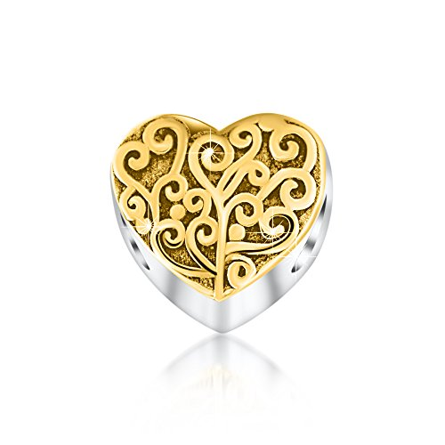 Kaayah - il mio cuore - donna charm anello, argento 925 sterling bicolor oro, bead per ciondolo bracciale