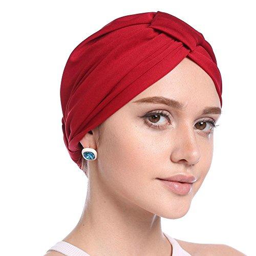 Cathy02Marshall Modale Chemotherapie Cap Modal Turban hat modale Haarausfall Kappe Damen Elegante Reine Farbe Einfach Weich Chemo Turban Mütze Kopftuch Für Chemotherapie,Krebs,Haarverlust