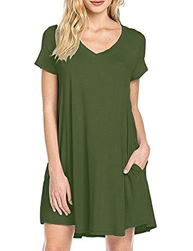 Uniquestyle Damen Sommerkleider V Ausschnitt Kurzarm Einfarbig Shirtkleid Strandkleider Longshirt mit Taschen Grün M -