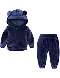 Baywell Primavera Unisex Felpa con Cappuccio in Velluto Camicia per Bambina  Bambino + Pantaloni Abiti Set 0bc528d314ab