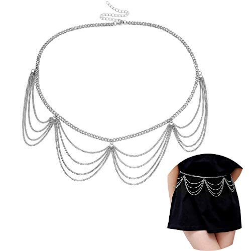 Juland Multilayer Alloy Waist Chain Body Chain for Women Waist Belt Pendant Belly Chain Adjustable Body Harness for Jeans Dresses - Silber 0401 -