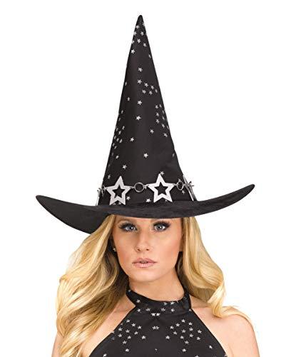 Kontakt Himmel Kostüm - Horror-Shop Himmlischer Hexenhut mit Sternenprint für Halloween & Karneval
