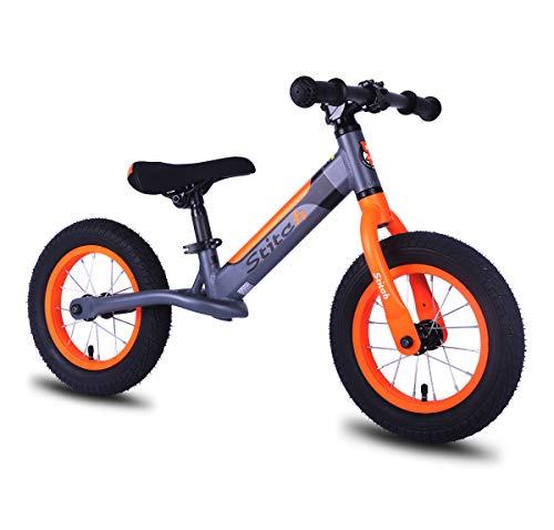 HILAND Stitch draussen Sport 12 Zoll Kinder Laufrad leichte Stabilität Aluminium Kinderrad Balance Bike für Jungen und Mädchen 2 3 4 Jahre lila und orange