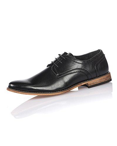 BLZ Jeans - Chaussure Homme Chic Noire à Lacet Semelle Effet Bois
