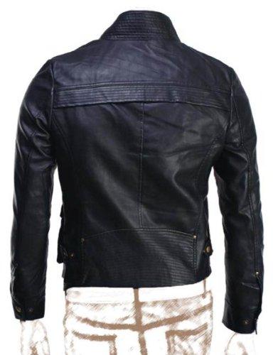 Herren Biker Cox schwarz Slim Fit Kunstleder jacket-get anpassen Jacken Schwarz - Weiß