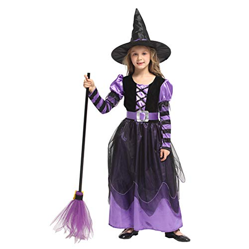 Hexe Kostüm Halloween Mädchen Kleid Lustige Westliche Kinder Maskerade Kleidung,M (Böse Hexe Kostüm Kleinkind)