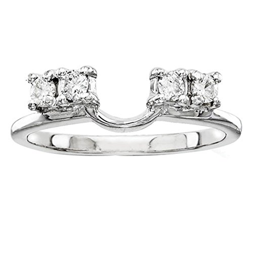 1/5ct 4 Stone Round Simulated Diamonds Ring Guard Wrap Solitaire Enhancer 14k White Gold Plated Sterling Silver