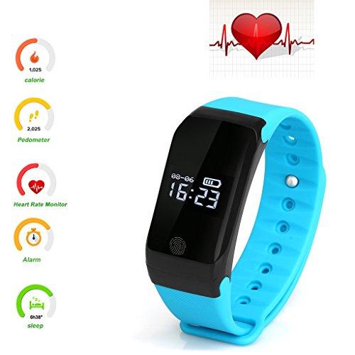 Dax-Hub X7 IP67 impermeabile mini Smart Bracelet Watch tracker sport Braccialetto fitness polso Bluetooth 4,0, Contapassi traccia delle Calorie, monitoraggio sanitario Bracciale armband compatibile con Android 4,3 e 4,4/4,5/5,0, IOS 5,1 7,0/8,0 8,1/4s/5s/6/6s/7/7Plus smartphone (X7-Azzurro)