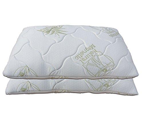 Baldiflex, coppia di cuscini guanciali fiocco in memory foam, misura 72x42 h15 cm, aloe vera