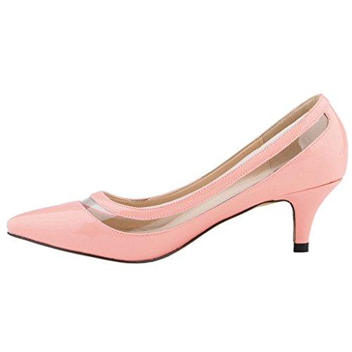 EKS Damen Lqoqop Solide Farbe Spitz Schuhe Comfrotable Low Heels Dress Pumps Pink-Lackleder