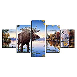 KGKBH 5 canvas paintings Modern Canvas Home Decor Poster Living Room 5 Pieces HD Prints Animal Elk Deer Paintings Wall Art River Moose Pictures