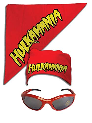 Unbekannt Kostüm Sonnenbrille Kopftuch Hulk Hogan Hulkamania Rot