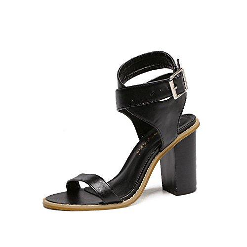 LvYuan-mxx Sandales romaines pour femmes / Printemps été automne / Décontracté Simple / Cool bottes / Chunky talons ouverts orteil / cheville sangle / Bureau & Carrière Robe / Talons hauts BLACK-39