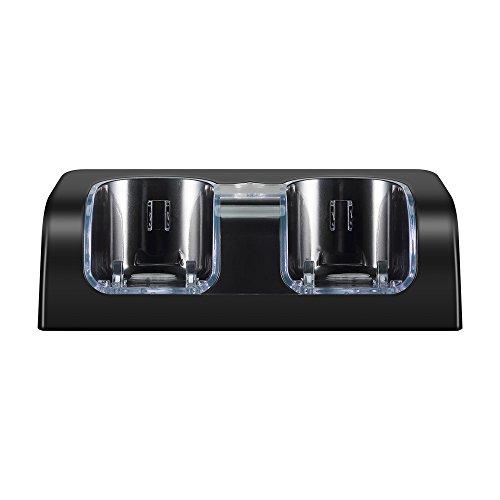 Delymc PS20 Wii-Fernbedienungs-Ladegerät, Wii Dual Charger Docking Station mit zwei wiederaufladbaren 2.800 mAh Akku und LED-Lichtanzeige für Nintendo Wii Controller ps20 schwarz - Station Docking Ladegerät Wii