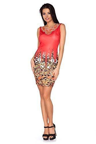 Futuro Fashion Damen Minikleid Exclusive Kollektion Pailletten China Aufdruck Party Körperform FC1119 Rosso