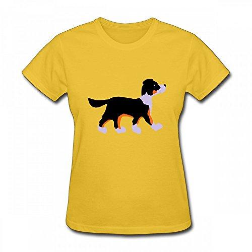 qingdaodeyangguo T Shirt For Women - Design Dog Shirt Yellow